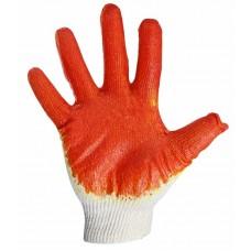 Перчатки х/б с одинарным латексным покрытием, 5 нитей, 36 г, 10 класс вязки, красного цвета