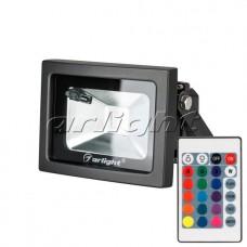 Светодиодный прожектор AR-FLB-10W-220V RGB (IR,ПДУ,Карта24кн,10Вт,80x112x85мм,Чёрный).