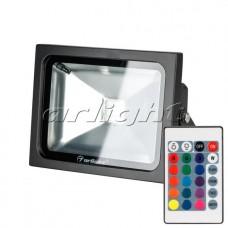 Светодиодный прожектор AR-FLB-20W-220V RGB (IR,ПДУ,Карта24кн,110x180x140мм,Чёрный).