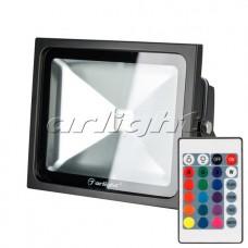 Светодиодный прожектор AR-FLB-30W-220V RGB (IR,ПДУ,Карта24кн,120x223x182мм,Чёрный).