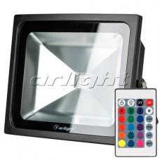 Светодиодный прожектор AR-FLB-50W-220V RGB (IR,ПДУ,Карта24кн,140x280x230мм,Чёрный).