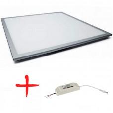 Комплект с драйвером SPL-5-40-4K /6К (S) ЭРА Светод. панель IP40 595x595x8 40Вт 2800Лм 4000K/6500К Ra>80 NationStar серебр.